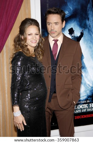 "Robert Downey Jr. and Susan Downey at the Los Angeles Premiere of ""Sherlock Holmes: A Game Of Shadows"" held at the Regency Village Theatre in Los Angeles, USA on December 6, 2011."