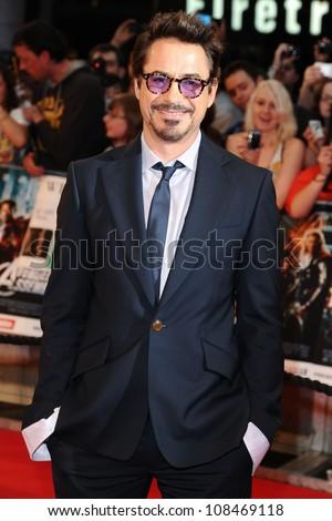 "Robert Downey Jr arrives for the ""Avengers Assemble"" premiere at the Vue cinema Westfield, London. 19/04/2012 Picture by: Steve Vas / Featureflash - stock photo"