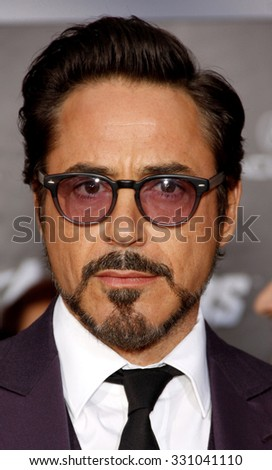 "Robert Downey Jr. at the Los Angeles premiere of ""The Avengers"" held at the El Capitan Theater in Hollywood, USA on April 11, 2012."