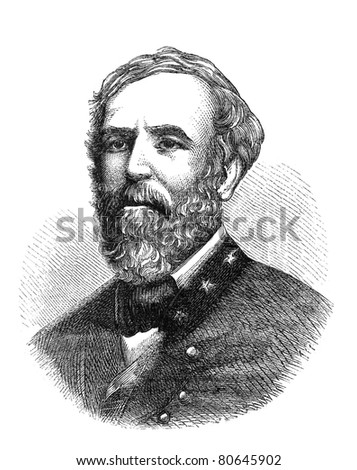 Robert E. Lee, a confederate general in the American Civil War. Illustration from The Leisure Hour magazine june 1864, the image is in public domain. - stock photo
