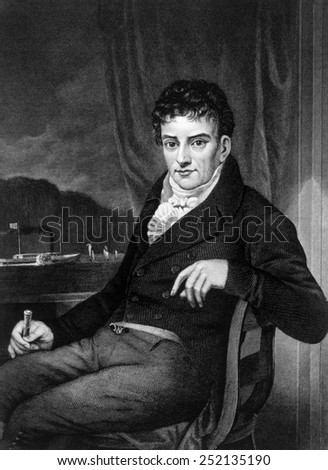Robert Fulton (1765-1815), engraving 1874 - stock photo