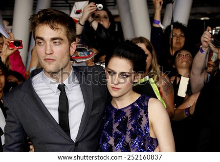 "Robert Pattinson and Kristen Stewart at the World Premiere of ""The Twilight Saga: Breaking Dawn Part 1"" held at Nokia Theatre L.A. Live in Los Angeles, California, United States on November 14, 2011."