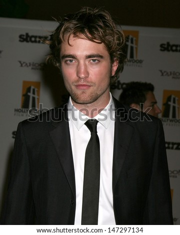 Robert Pattinson arriving to the Hollywood Film Festival Awards Gala at the Beverly Hilton Hotel in Beverly Hills, CA  on October 27, 2008 - stock photo