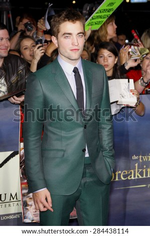 Robert Pattinson at the Los Angeles premiere of 'The Twilight Saga: Breaking Dawn - Part 2' held at the Nokia Theatre L.A. Live in Los Angeles on November 12, 2012.  - stock photo