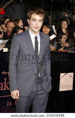 Robert Pattinson at the Los Angeles premiere of 'The Twilight Saga: Breaking Dawn Part 1' held at the Nokia Theatre L.A. Live in Los Angeles, USA on November 14, 2011. - stock photo