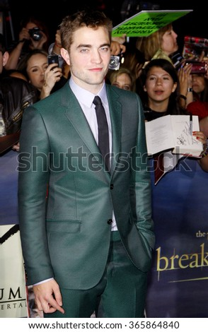 """Robert Pattinson at the Los Angeles Premiere of """"The Twilight Saga: Breaking Dawn - Part 2"""" held at the Nokia L.A. Live Theatre in Los Angeles, USA on November 12, 2012.  - stock photo"""