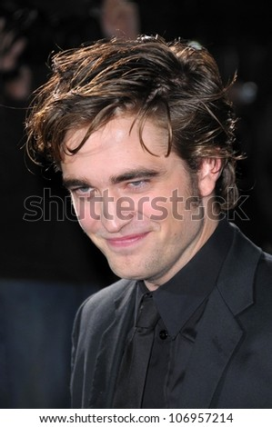 Robert Pattinson  at the Los Angeles Premiere of 'Twilight'. Mann Village, Westwood, CA. 11-17-08 - stock photo