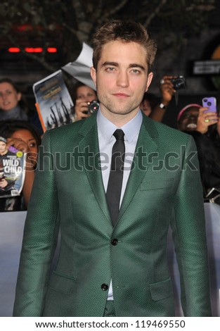 "Robert Pattinson at the world premiere of his movie ""The Twilight Saga: Breaking Dawn - Part 2"" at the Nokia Theatre LA Live. November 12, 2012  Los Angeles, CA Picture: Paul Smith - stock photo"