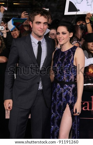 "Robert Pattinson, Kristen Stewart at ""The Twilight Saga: Breaking Dawn - Part 1"" Los Angeles Premiere, Nokia Theatre L.A. Live, Los Angeles, CA 11-14-11 - stock photo"