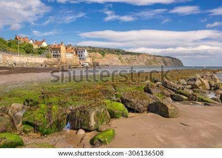 Robin Hoods Bay beach in north Yorkshire - stock photo