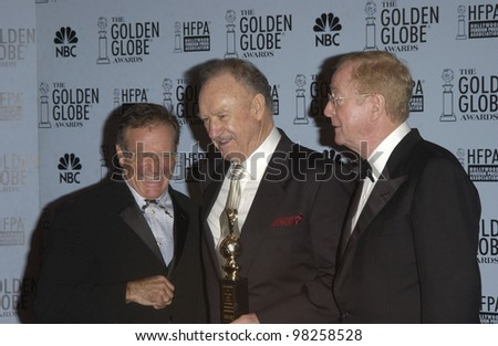 ROBIN WILIAMS (left), GENE HACKMAN & MICHAEL CAINE at the 60th Annual Golden Globe Awards at the Beverly Hills Hilton. 19JAN2003.  Paul Smith / Featureflash - stock photo