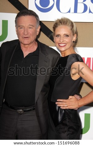 Robin Williams and Sarah Michelle Gellar at the CBS, Showtime, CW 2013 TCA Summer Stars Party, Beverly Hilton Hotel, Beverly Hills, CA 07-29-13 - stock photo