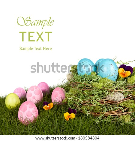 Robins Blue Easter Eggs In Bird Nest, Green Grass With Pink & Purple Holiday Decorations - stock photo