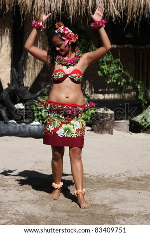 ROBINSON CRUSOE ISLAND, FIJI - JULY 28: Beautiful girl from Robinson Crusoe island's group performs traditional Tiare Tipani dance at Dancing Spectacular July 28, 2011 in Robinson Crusoe Island, Fiji