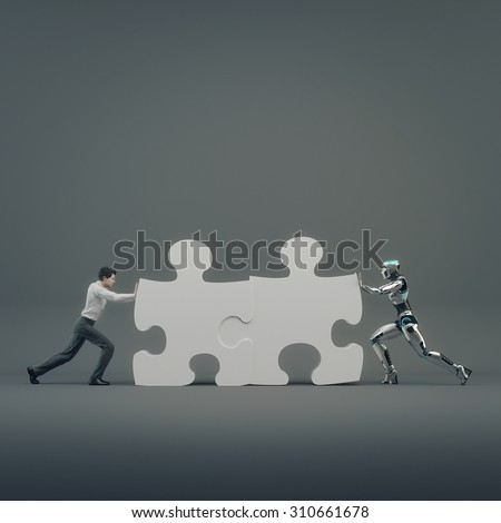 Robot and  businessman man pushed part of the puzzle. The concept teamwork human and artificial intelligence - stock photo