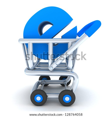 Robot and cart e-shop (done in 3d) - stock photo