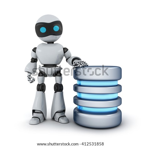 Robot and database abstract (done in 3d) - stock photo