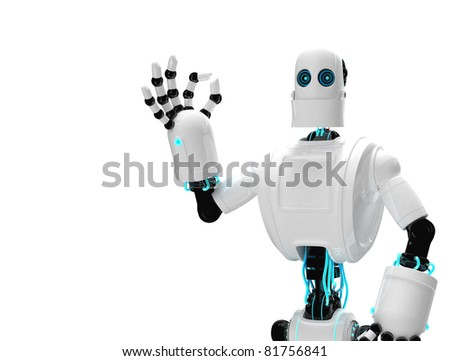 Robot and giving ok. Isolated on white background - stock photo
