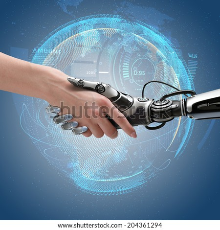 Robot and human handshake. Cyber communication design concept.  - stock photo