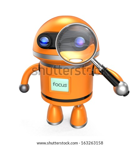 Robot and magnify glass on white background. Clipping path included. 3d render - stock photo
