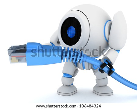 Robot and net cable (done in 3d) - stock photo