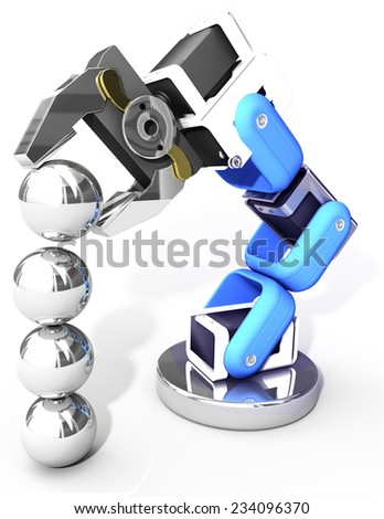 Robot arm building growth in technology business as ball bearings stack - stock photo