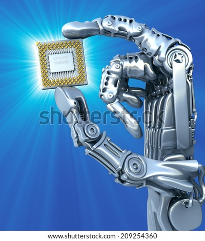 Robot arm with fantasy Chip or processor. High technology 3d illustration - stock photo