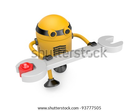 Robot at work. Image contain clipping path - stock photo