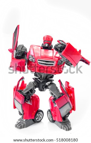 Robot battle transform car red on white background.