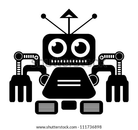 robot (black and white) - stock photo