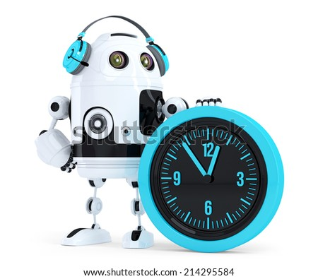 Robot call center operator. Isolated. Contains clipping path - stock photo