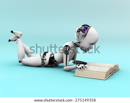 Robot child lying on the floor and reading a book. Bluish background. - stock photo