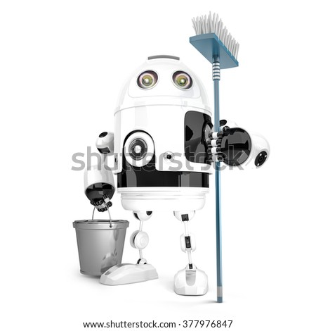 Robot cleaner with mop and bucket in his hands. Isolated over white. Technology concept. Contains clipping path