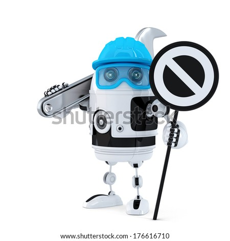 Robot construction worker with wrench and stop sign. Technology concept. Isolated over white background