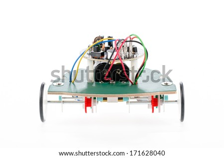 Robot created from electronic pieces - stock photo