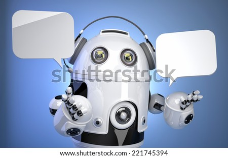 Robot customer service operator with headset and speech bubbles. Isolated, contains clipping path - stock photo