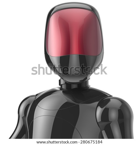 Robot cyborg black high tech bot android futuristic cyberspace character artificial concept red shiny face metallic. 3d render isolated on white background - stock photo