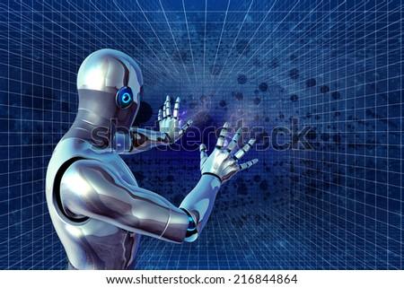 robot defend - stock photo