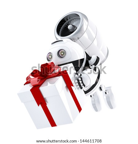 Robot delivering gift box. Express delivery concept - stock photo