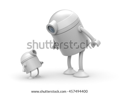 Robot family. Father and son. 3d illustration - stock photo