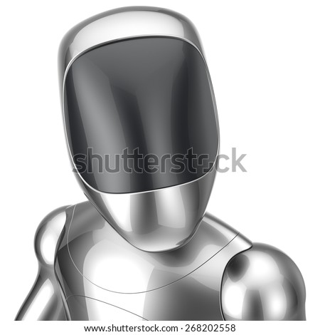Robot futuristic cyborg concept. 3d render isolated on white background - stock photo