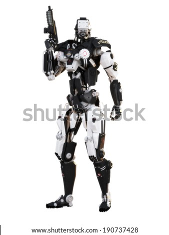 Robot Futuristic Police armored mech weapon on a white background with clipping path - stock photo