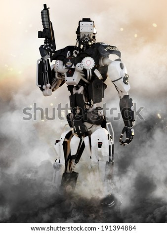 Robot Futuristic Police armored mech weapon with action background - stock photo