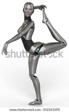 robot girl exotic dance - stock photo