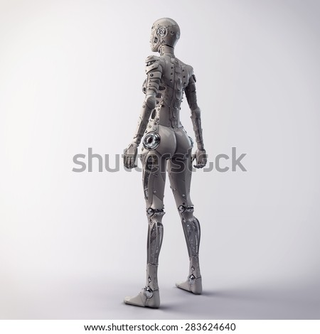 Robot girl looks into the distance - stock photo