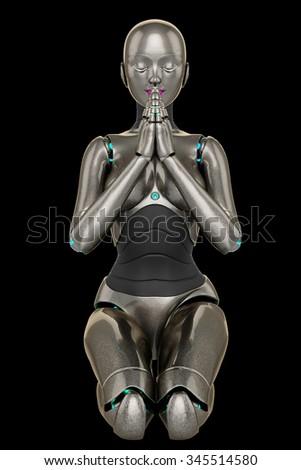 robot girl praying - stock photo