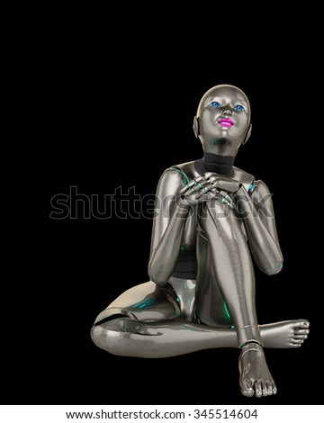 robot girl thinking about - stock photo