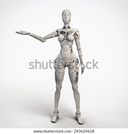 Robot girl with outstretched hand - stock photo