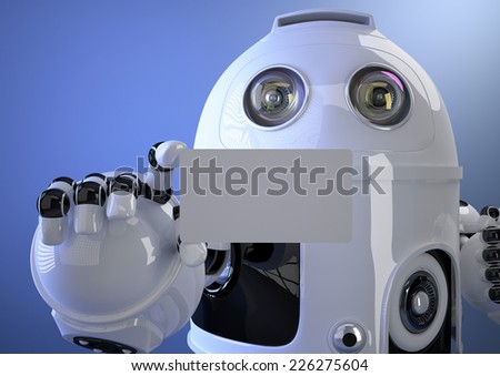 Robot hand business card. Contains clipping path - stock photo