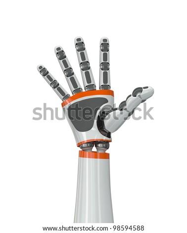 Robot hand doing high five gesture - stock photo